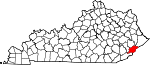 Map of Kentucky showing Letcher County - Click on map for a greater detail.