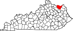 Map of Kentucky showing Lewis County - Click on map for a greater detail.