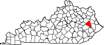 Map of Kentucky showing Magoffin County - Click on map for a greater detail.