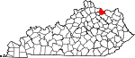 Map of Kentucky showing Mason County - Click on map for a greater detail.