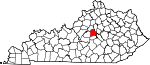 Map of Kentucky showing Mercer County - Click on map for a greater detail.