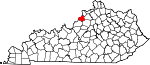 Map of Kentucky showing Oldham County - Click on map for a greater detail.