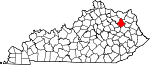 Map of Kentucky showing Rowan County - Click on map for a greater detail.