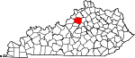 Map of Kentucky showing Shelby County - Click on map for a greater detail.