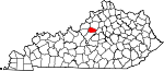 Map of Kentucky showing Spencer County - Click on map for a greater detail.