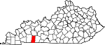 Map of Kentucky showing Todd County - Click on map for a greater detail.