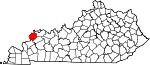 Map of Kentucky showing Union County - Click on map for a greater detail.