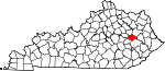 Map of Kentucky showing Wolfe County - Click on map for a greater detail.