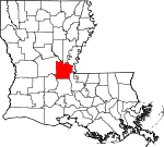 Map of Louisiana showing Avoyelles Parish - Click on map for a greater detail.