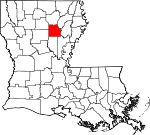 Map of Louisiana showing Caldwell Parish - Click on map for a greater detail.
