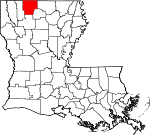 Map of Louisiana showing Claiborne Parish - Click on map for a greater detail.
