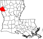 Map of Louisiana showing De Soto Parish - Click on map for a greater detail.