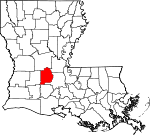 Map of Louisiana showing Evangeline Parish - Click on map for a greater detail.