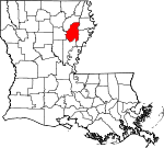 Map of Louisiana showing Franklin Parish - Click on map for a greater detail.
