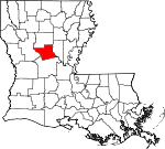 Map of Louisiana showing Grant Parish - Click on map for a greater detail.