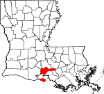 Map of Louisiana showing Iberia Parish - Click on map for a greater detail.