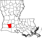 Map of Louisiana showing Jefferson Davis Parish - Click on map for a greater detail.