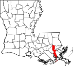 Map of Louisiana showing Jefferson Parish - Click on map for a greater detail.
