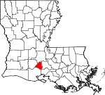 Map of Louisiana showing Lafayette Parish - Click on map for a greater detail.