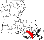 Map of Louisiana showing Lafourche Parish - Click on map for a greater detail.