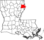 Map of Louisiana showing Madison Parish - Click on map for a greater detail.