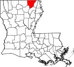 Map of Louisiana showing Morehouse Parish - Click on map for a greater detail.