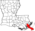 Map of Louisiana showing Plaquemines Parish - Click on map for a greater detail.