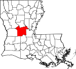 Map of Louisiana showing Rapides Parish - Click on map for a greater detail.