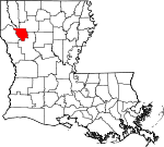 Map of Louisiana showing Red River Parish - Click on map for a greater detail.
