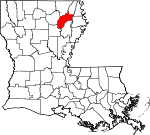Map of Louisiana showing Richland Parish - Click on map for a greater detail.