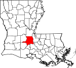 Map of Louisiana showing St. Landry Parish - Click on map for a greater detail.