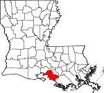 Map of Louisiana showing St. Mary Parish - Click on map for a greater detail.