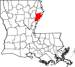 Map of Louisiana showing Tensas Parish - Click on map for a greater detail.