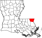 Map of Louisiana showing Washington Parish - Click on map for a greater detail.