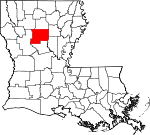 Map of Louisiana showing Winn Parish - Click on map for a greater detail.