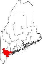 Map of Maine showing Cumberland County - Click on map for a greater detail.
