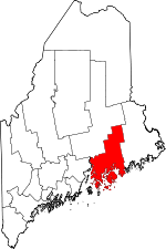 Map of Maine showing Hancock County - Click on map for a greater detail.