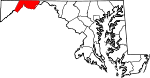 Map of Maryland showing Allegany County - Click on map for a greater detail.