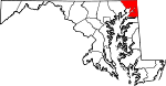 Map of Maryland showing Cecil County - Click on map for a greater detail.