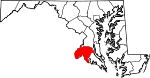 Map of Maryland showing Charles County - Click on map for a greater detail.