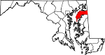 Map of Maryland showing Kent County - Click on map for a greater detail.