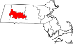 Map of Massachusetts showing Hampshire County - Click on map for a greater detail.