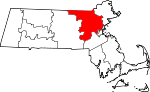 Map of Massachusetts showing Middlesex County - Click on map for a greater detail.