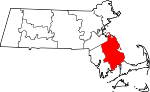 Map of Massachusetts showing Plymouth County - Click on map for a greater detail.