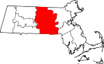 Map of Massachusetts showing Worcester County - Click on map for a greater detail.