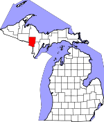 Map of Michigan showing Dickinson County - Click on map for a greater detail.