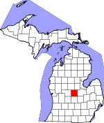 Map of Michigan showing Gratiot County - Click on map for a greater detail.