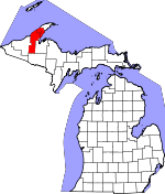 Map of Michigan showing Houghton County - Click on map for a greater detail.