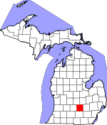 Map of Michigan showing Ingham County - Click on map for a greater detail.