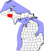 Map of Michigan showing Iron County - Click on map for a greater detail.